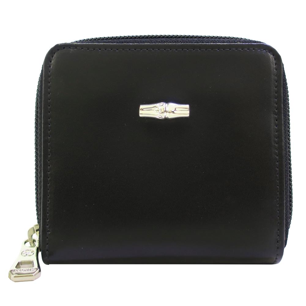 Longchamp 拉鍊短夾-黑色LONGCHAMP