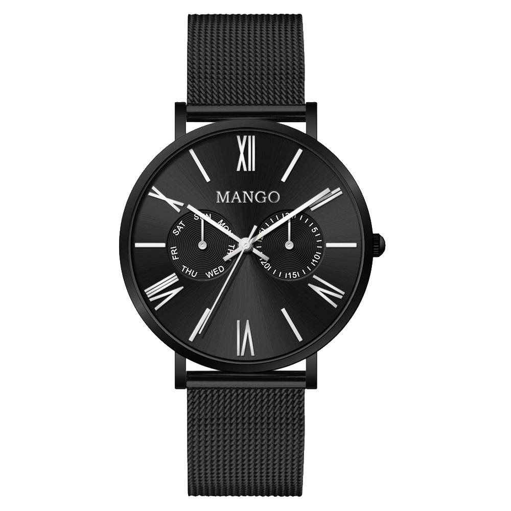 MANGO 米蘭奢華簡約雙眼腕錶-黑-MA6731L-BK