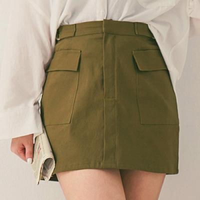 AIR SPACE LADY 中大尺碼 工裝風翻蓋口袋造型短裙(軍綠)