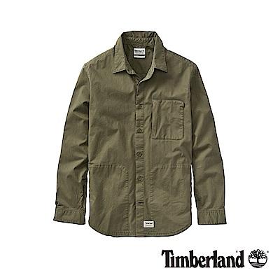 Timberland 男款軍綠色彈性斜紋布長袖襯衫|A1WRY