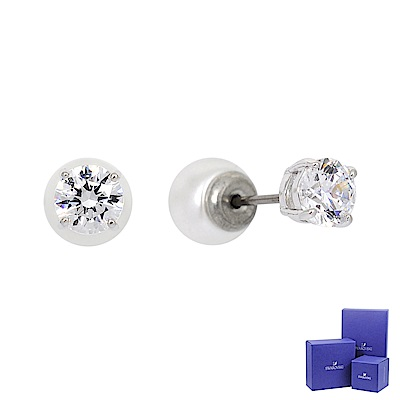 SWAROVSKI 施華洛世奇 ATTRACT璀璨水晶珍珠銀色耳環