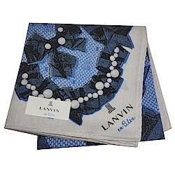 LANVIN en Bleu 優雅珍珠蝴蝶結圖騰字母LOGO帕領巾(灰/籃底)