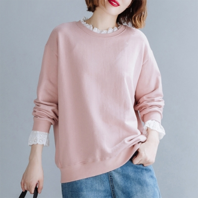 初色  花邊長袖T恤-共2色-(XL/2XL可選)