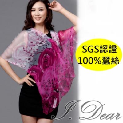I.Dear-100%蠶絲頂級印花真絲披肩/圍巾(玫紅玫瑰)