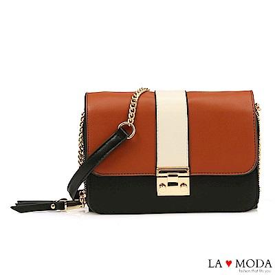 La Moda 人氣不敗拼接撞色大容量約會必備鍊條小方包(棕)
