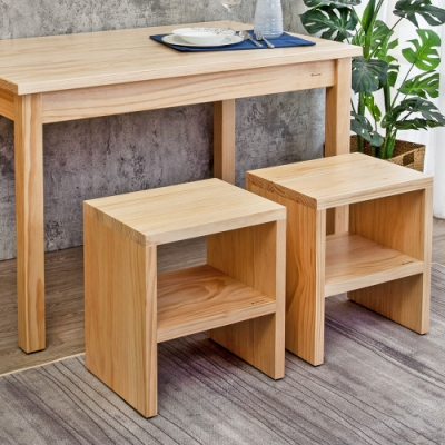 Boden-森林家具 1.4尺全實木椅凳/小矮凳/穿鞋椅/坐式鞋櫃-二入-42x32x47