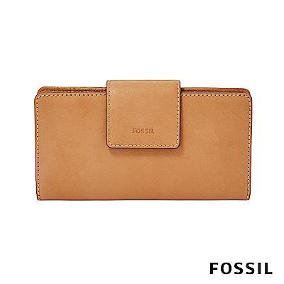 FOSSIL EMMA 真皮薄型長夾-駝色