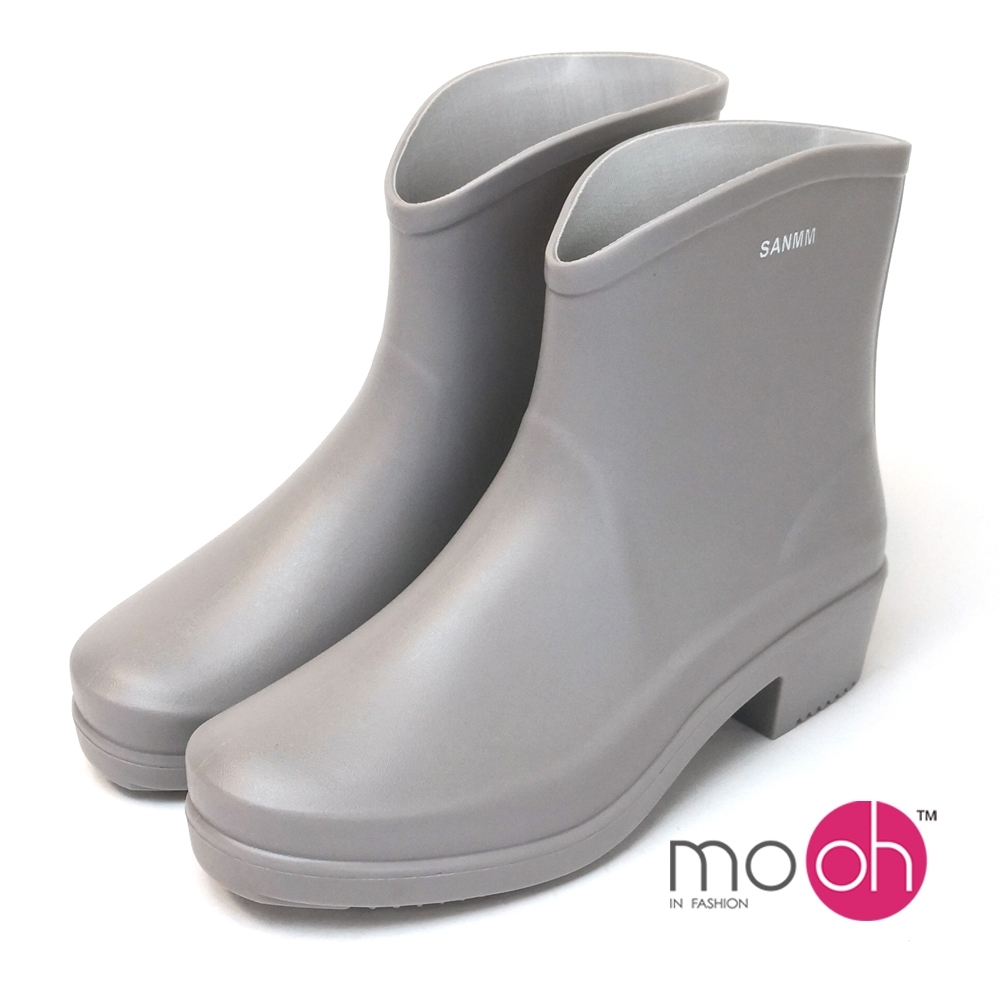 mo.oh愛雨天柔軟粗跟短筒雨鞋灰色