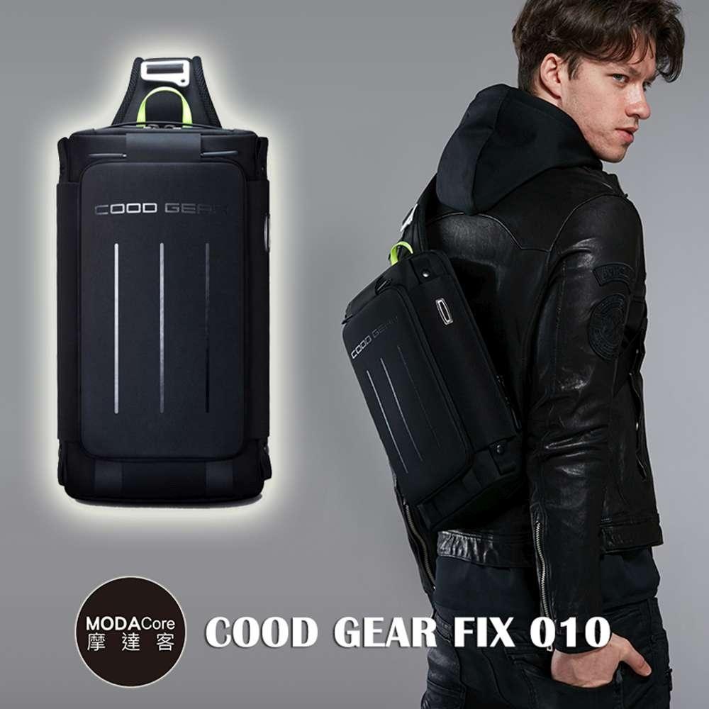 摩達客 韓國COOD GEAR-FIX010金屬都會黑時尚防潑水螢光勾帶輕便側肩包 斜跨包
