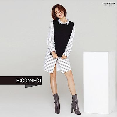 H:CONNECT 韓國品牌 女裝-兩件式背心襯衫洋裝