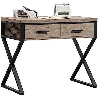 綠活居 芙蓉時尚3尺木紋二抽書桌/電腦桌-90x60x78cm免組