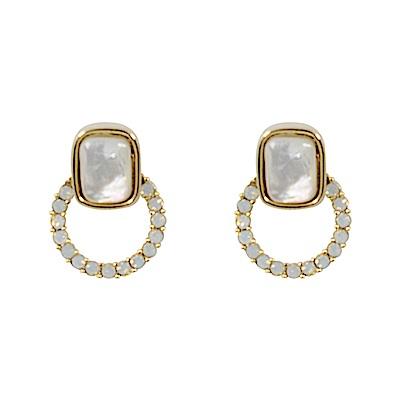 Prisme美國時尚飾品 優雅圓環寶石 金色耳環 耳針式