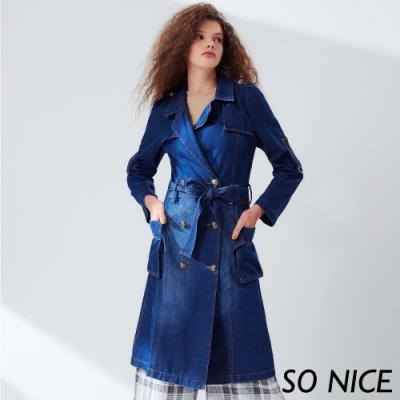 SO NICE個性造型釦牛仔風衣
