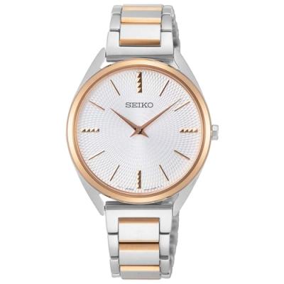 SEIKO 精工菱格簡約時尚手錶SWR034P1-金框X半金/32mm
