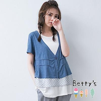 betty's貝蒂思 開釦剪接格紋雪紡假兩件式上衣(深藍)