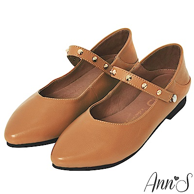 Ann'S神級多穿5way瑪莉珍鉚釘真皮平底鞋-棕