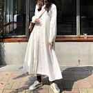 MOCO韓版復古V領半排釦挺料質感長版寬鬆側口袋連身洋裝