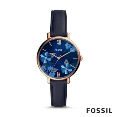 FOSSIL JACQUELINE 花漾深藍色皮革女錶 36mm ES4673