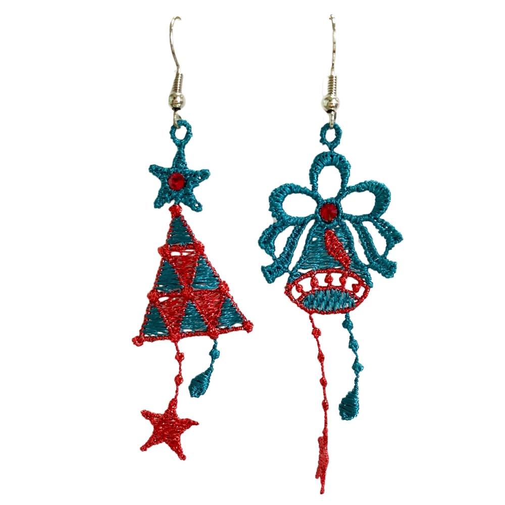 思薇爾 J.DESIGN聖誕樹高級刺繡耳環(土耳其藍)