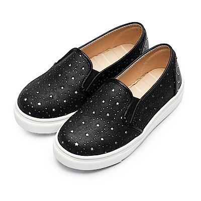 BuyGlasses 星星皮質感兒童懶人鞋-黑