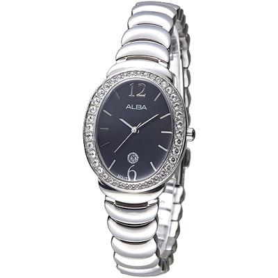 ALBA 霓裳瑰寶施華洛世奇晶鑽女錶-黑(AH7L49X1)/32*26mm