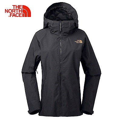 The North Face北面女款黑色防水透氣連帽衝鋒衣|3LA1CGW