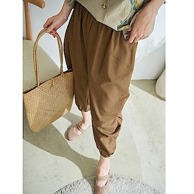慢 生活 設計款棉麻縮口褲-綠色