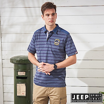 JEEP 復古造型拼接條紋短袖POLO衫-藍色