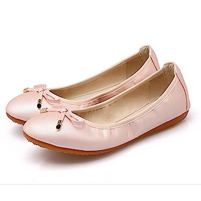 KEITH-WILL時尚鞋館 糖果色蝴蝶結造型可愛平底鞋-粉色
