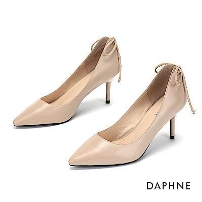 達芙妮DAPHNE 高跟鞋-質感羊皮蝴蝶結綁帶高跟鞋-杏