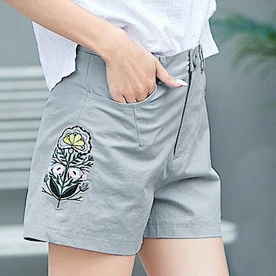 初色  純棉刺繡花紋短褲-藍色-(M-2XL可選)