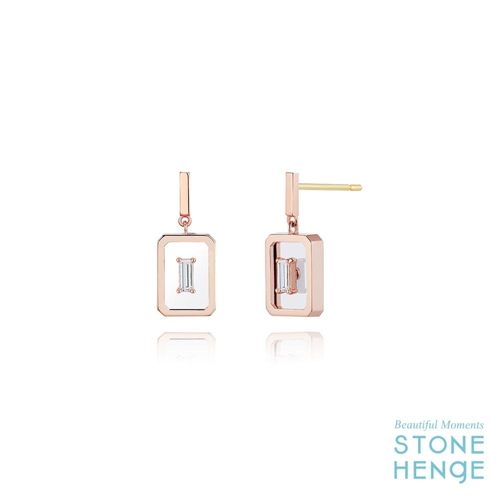 STONEHENGE 斯通亨奇 La Stella14K玫瑰金方形鋯石耳飾