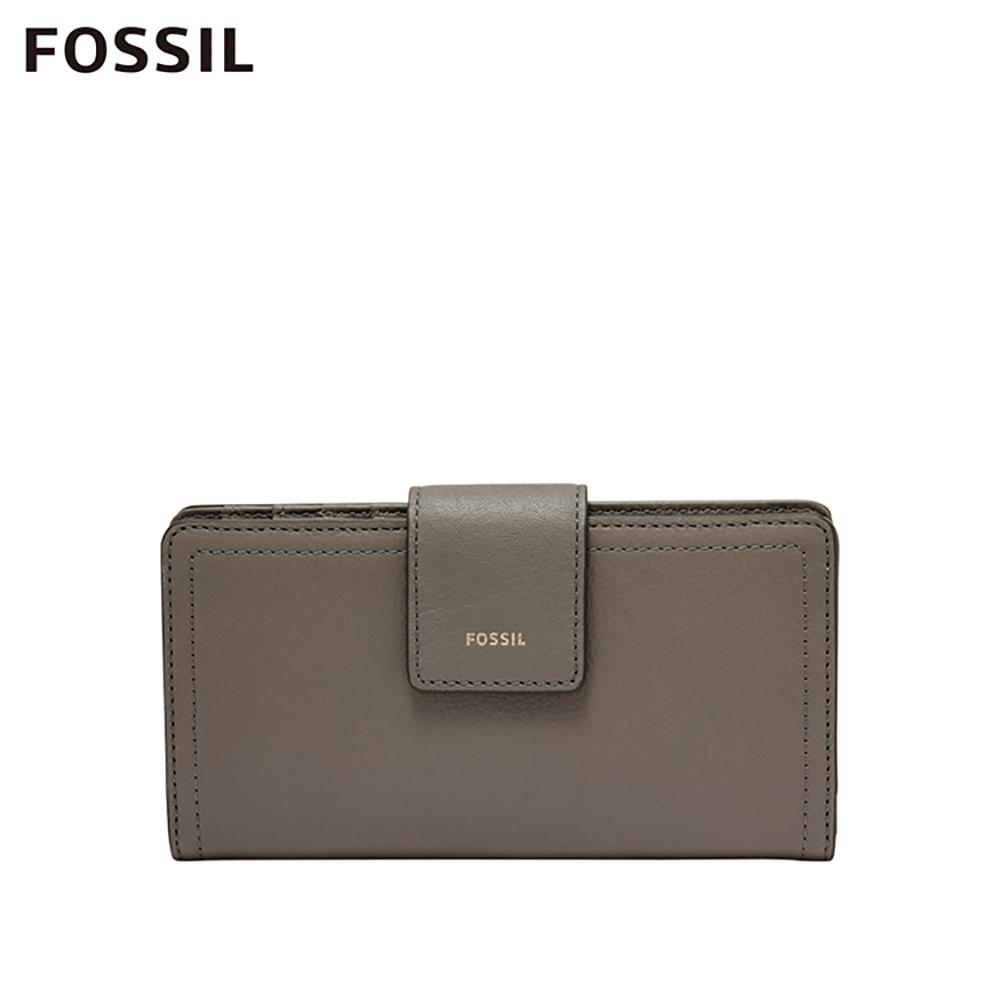 FOSSIL LOGAN 真皮拉鍊RFID中長夾-大象灰 SL7830046