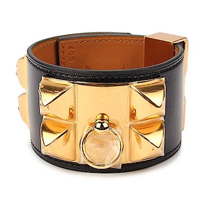 HERMES Collier De Chien金屬牛皮寬版手環-黑色