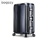 Bogazy 篆刻經典 26吋鋁框抗壓力學鏡面行李箱(經典黑)