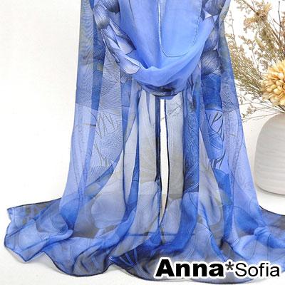 AnnaSofia 魅染荷花 雪紡圍巾長絲巾(深藍系)
