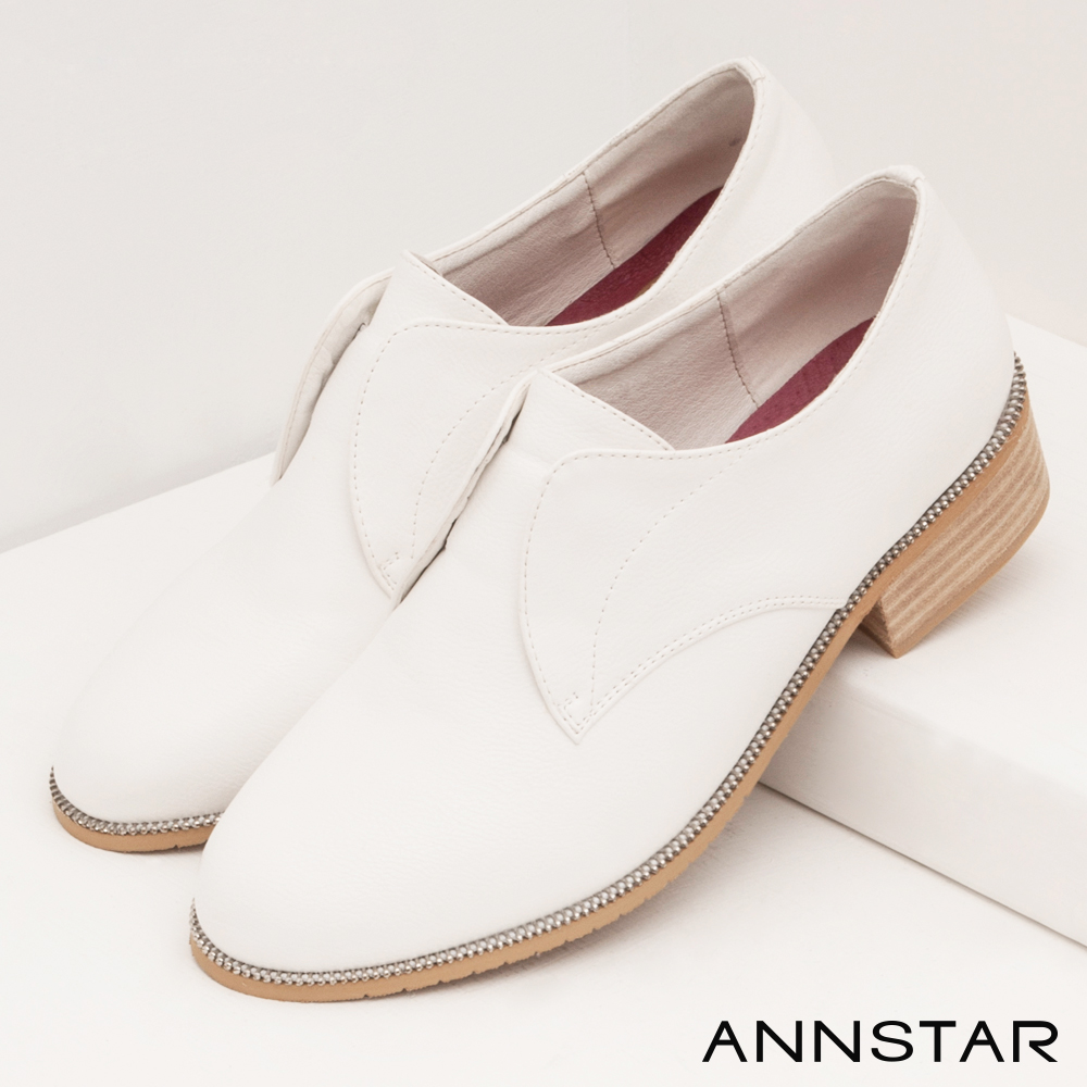 ANNSTAR簡約素面拉鍊飾底休閒鞋-白