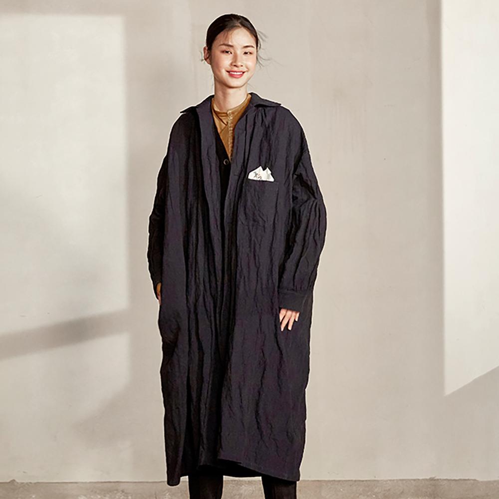 旅途原品_合奏曲_原創設計羊毛金屬絲寬鬆風衣馬甲兩件套-藏青色