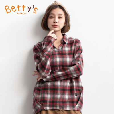 betty's貝蒂思 跳色格紋寬版造型上衣(紅格紋)