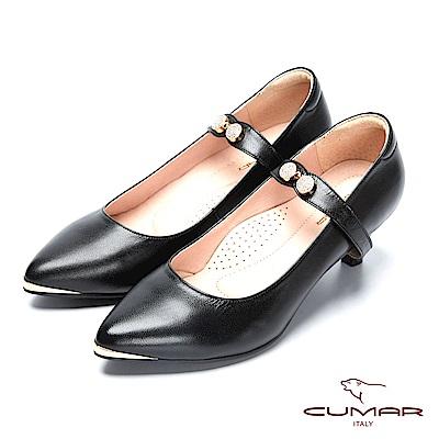 CUMAR復古典雅- 尖頭2WAY可拆式腳背帶鑽飾跟鞋