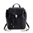 BVLGARI 寶格麗Serpenti系列菱紋小牛皮雙色琺瑯蛇頭手提/後背包 (黑色)