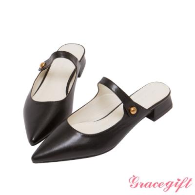 Grace gift-尖頭金屬釦低跟穆勒鞋 黑