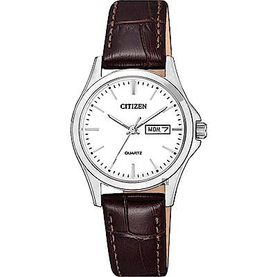 CITIZEN 星辰 經典簡約石英女錶-白x咖啡/27mm(EQ0591-21A)