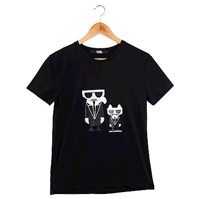 KARL LAGERFELD Q版卡爾貓咪造型短T恤 (黑色)