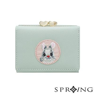 SPRING-甜萌愛心扣刺繡兔兔短夾-柔和綠