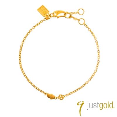 鎮金店Just Gold 愛心Babe黃金手鍊(媽咪版)