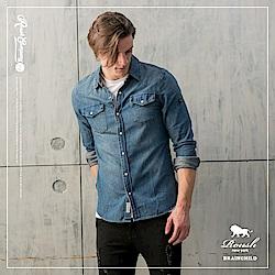 ROUSH 雙口袋釘釦水洗牛仔襯衫(2色)