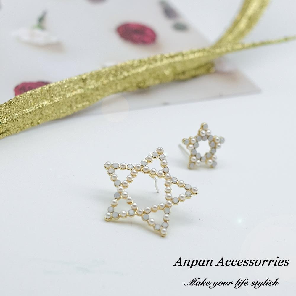 【全館6折ANPAN】925銀針韓東大門五角星星不對稱耳環