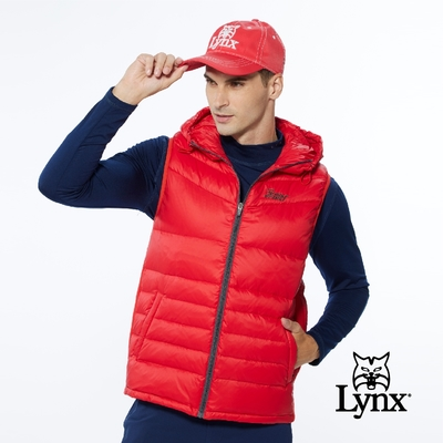 【Lynx Golf】男款保暖羽絨素面款脇邊羅紋設計無袖連帽背心-紅色