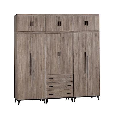 文創集 波可8尺加高衣櫃(吊衣桿+抽屜+被櫥櫃-240.3x59.1x247.9cm免組